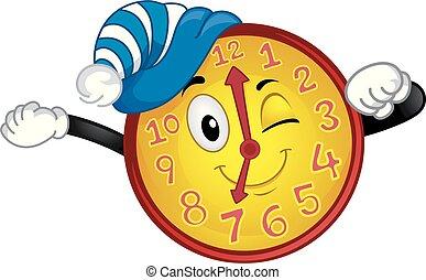 orologio, mascotte, destarsi, tempo, illustrazione