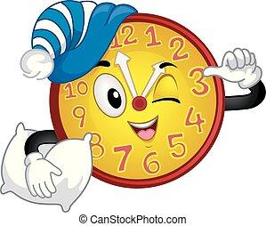 orologio, mascotte, pomeriggio, tempo pisolino, illustrazione
