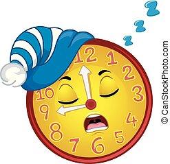 orologio, mascotte, sonno, bedtime, illustrazione