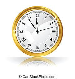 orologio oro, isolato, fondo., vettore, bianco