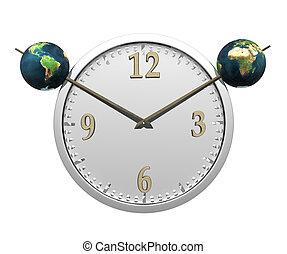 orologio, parete, isolato, due, terra, bianco