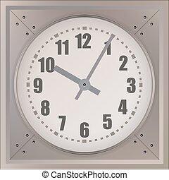 orologio, parete, isolato, fondo., vettore, bianco