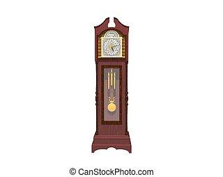 orologio, parete, -, isolato, interpretazione, bianco, 3d