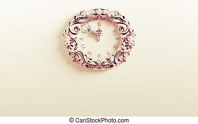 orologio, parete, vendemmia, interpretazione, fondo,  3D