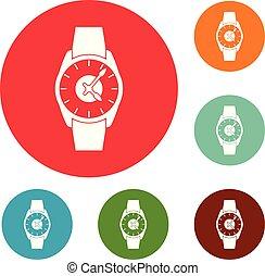 orologio polso, uomo affari, icone, cerchio, set, vettore