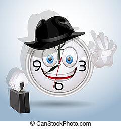 orologio, sorriso, pronto, per, uno, nuovo, lavorativo