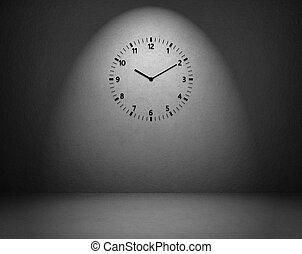 orologio, su, parete, in, il, stanza