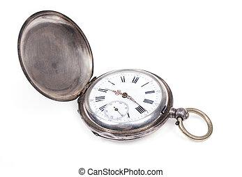 orologio tascabile ed antico, bianco, fondo.