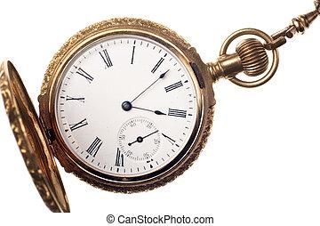 orologio tascabile ed antico, isolato, bianco, fondo