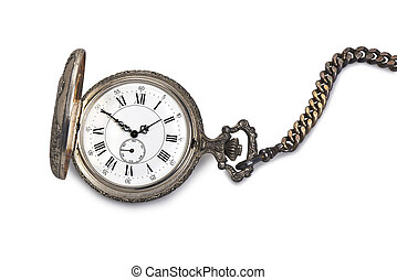 orologio tascabile ed antico, isolato, bianco, fondo.