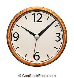 orologio ufficio, parete, isolato, fondo., bianco, interpretazione, 3d