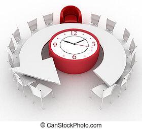 orologio ufficio, sedie, gruppo