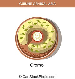 Oromo dish with bowl of sauce from Central Asian cuisine...