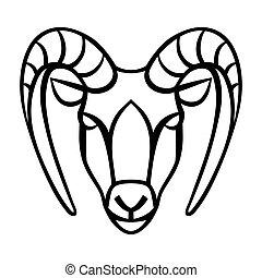 oroscopo, capricorno, simbolo., segno, nero, zodiaco