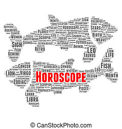 oroscopo, parola, nuvola, concetto