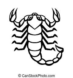 oroscopo, scorpione, simbolo., segno, nero, zodiaco