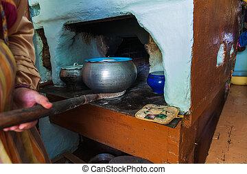 orosz, kályha, főzés, étkezés