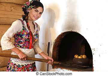 orosz, kályha, nő, főzés