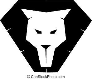 oroszlán, arc, árnykép