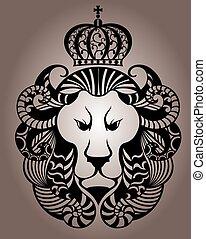 oroszlán, arc, jel, embléma