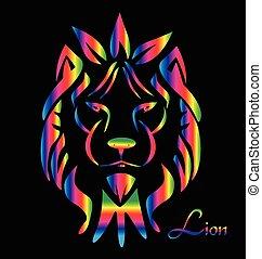 oroszlán, arc, jel