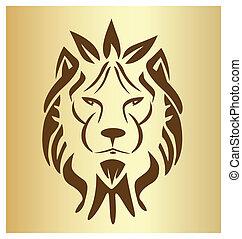 oroszlán, arc, szüret, jel