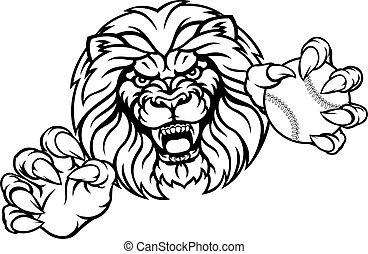 oroszlán, baseball labda, sport, kabala