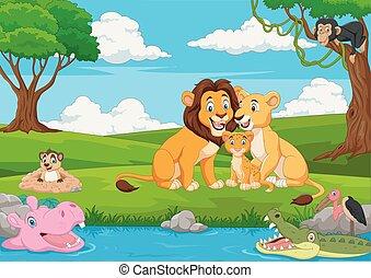 oroszlán, dzsungel, család, karikatúra
