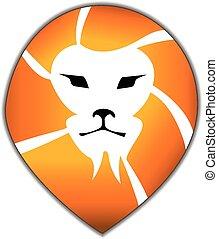 oroszlán, fej, jel