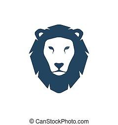 oroszlán, fej, silhouette.
