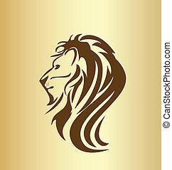 oroszlán, fej, szüret, árnykép, jel