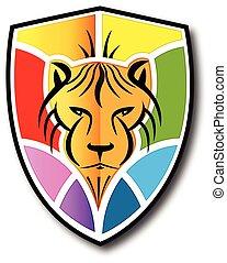 oroszlán, pajzs, jel