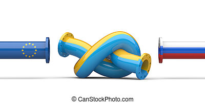 oroszország, -, ukrajna, -, európa, gáz, krízis, concept., csővezeték, bekötött, alatt, egy, knot.
