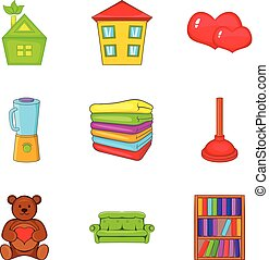 Orphan house icons set, cartoon style - Orphan house icons...