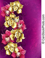 orquídea, plano de fondo, dorado, rosa