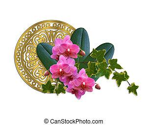 orquídeas, diseño, artístico, hiedra