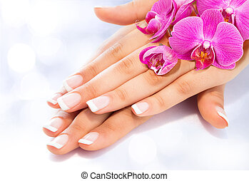 orquídeas, manicure, francês