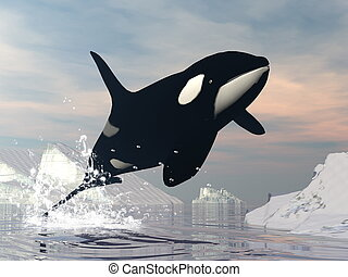 orque, saut, -, 3d, render
