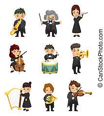 orquesta, jugador de la música