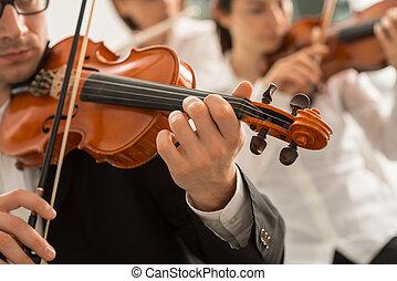 orquestra, cadeia, seção, executar