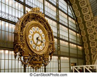 orsay, museum., 人物面部影像逼真, ......的, the, clock., 巴黎