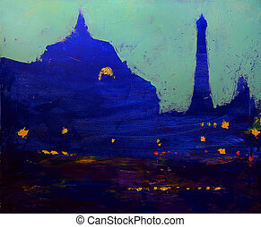 Orsay Museum and Eiffel tower in the evening on original art...
