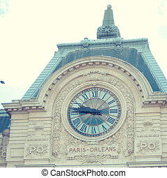 Orsay Museum in Paris with clock where you can see Sacre Coeur from inside