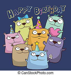 orsi, divertente, scheda compleanno