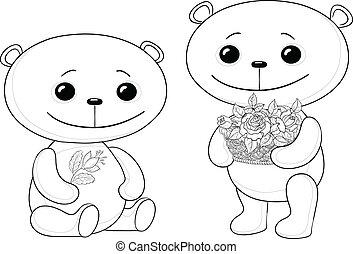 orsi teddy, con, fiori, contorni