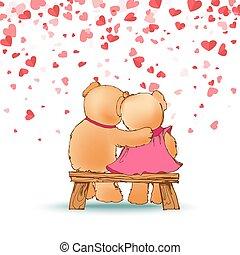 orsi teddy, seduta, abbracciare, panca, legno, vettore