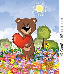 orso, amore, su, il, prato