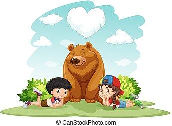 orso, bambini, seduta