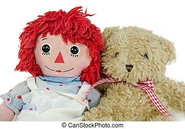 orso teddy, con, vecchio, bambola pezza