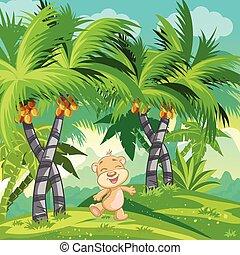 orso teddy, jungle., bambini, illustrazione, felice